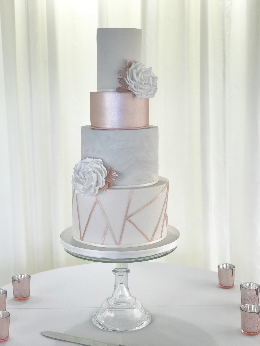 Grey Marble Rose Gold wedding cake New house Hotel Cardiff
