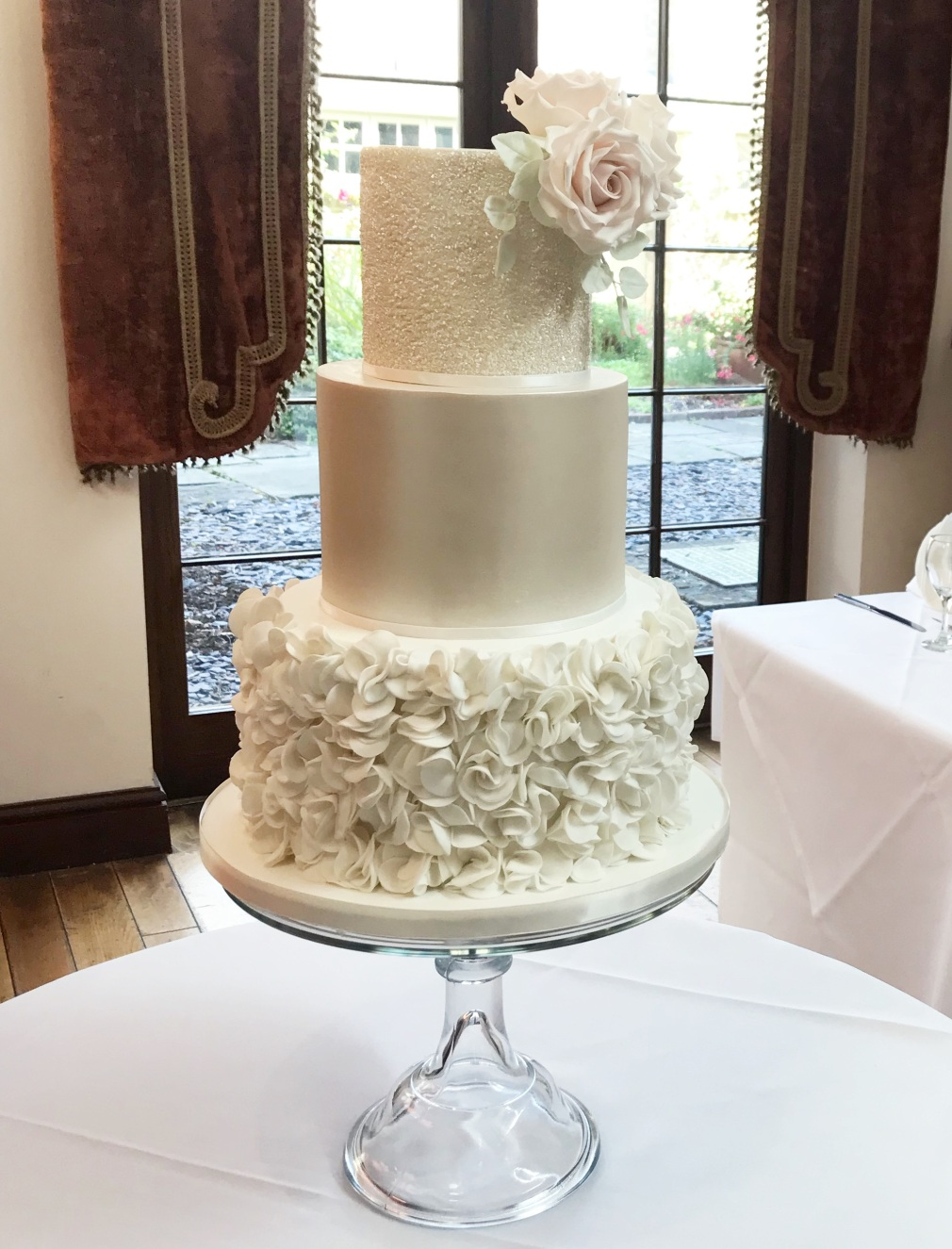Miskin Manor Wedding Cake with ruffles and sugar rose