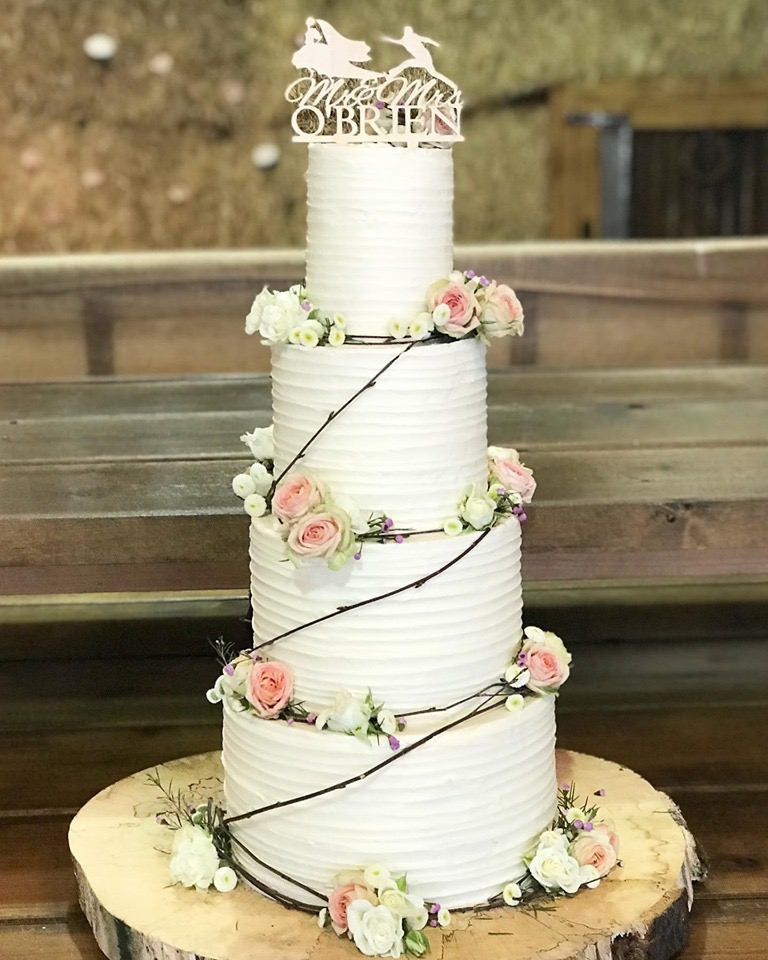 Buttercream wedding cake at Sugarloaf Barn, Usk, Monmouthshire