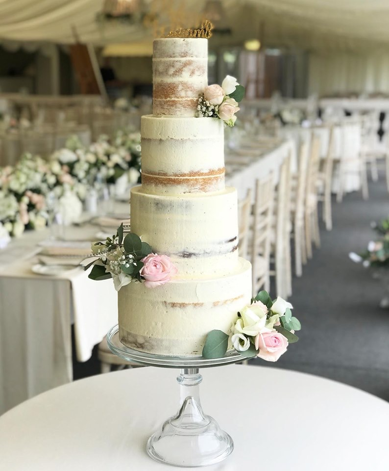 Buttercream semi naked cake at Llanerch Vineyard
