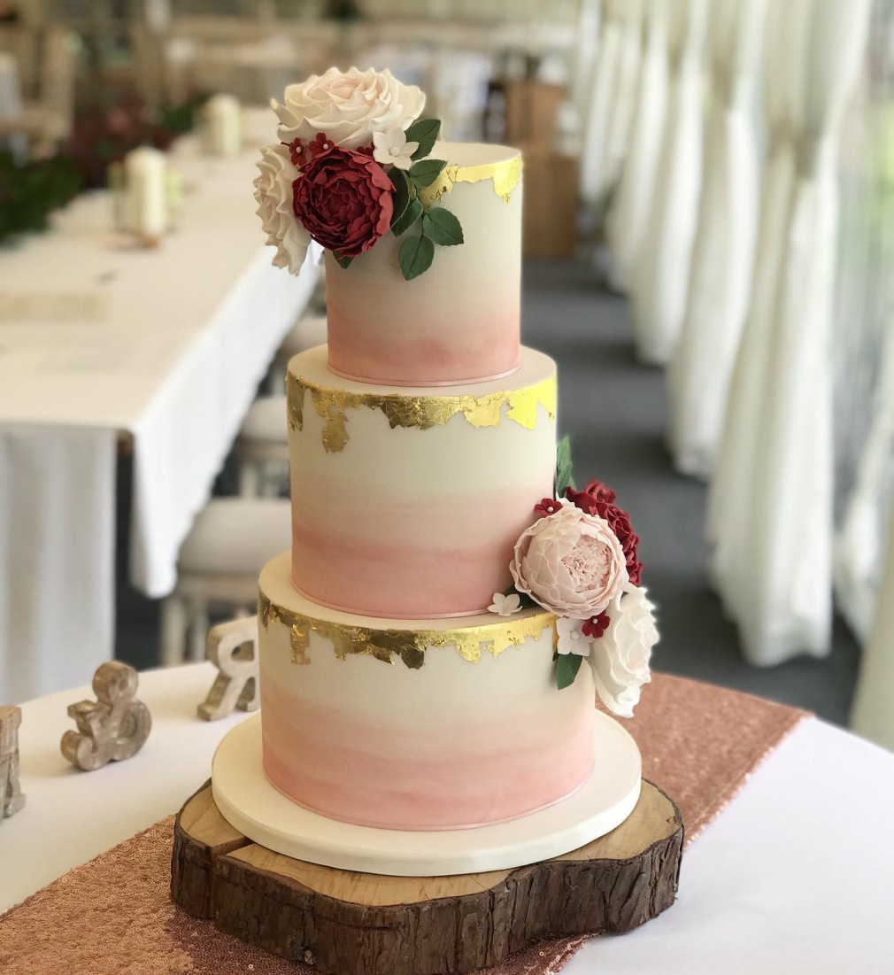 Blush pink Ombre Wedding Cake at Llanerch Vineyard near Cardiff
