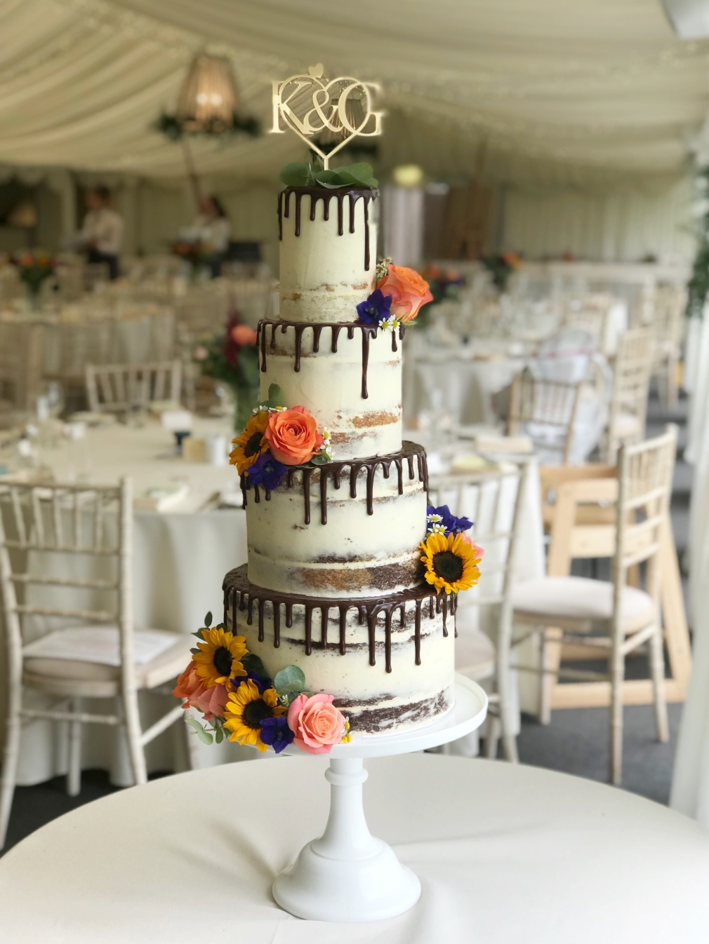 Llanerch vineyard Wedding cake, featuring chocolate drip cake